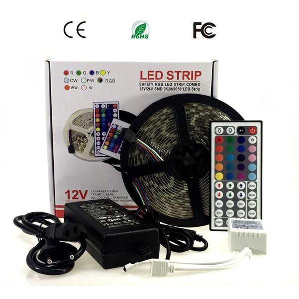 LED Strip 5M 5050 RGB 60 LED / m LED Light Diode Tape RGB LED Strip 5050 44keys / 24keys IR Remote DC12V Power Adapter