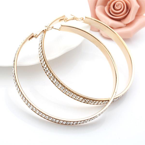 879285bc2416 Nuevos pendientes de aro de cristal para mujer pendientes de círculo de moda  Pendientes grandes de