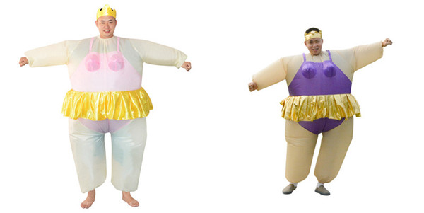Cute Adult Inflatable Ballerina Costume Fat Suit for Women/Men Air Fan Operated Blow Up Party Fancy Jumpsuit Outfit Mascot WSJ-36