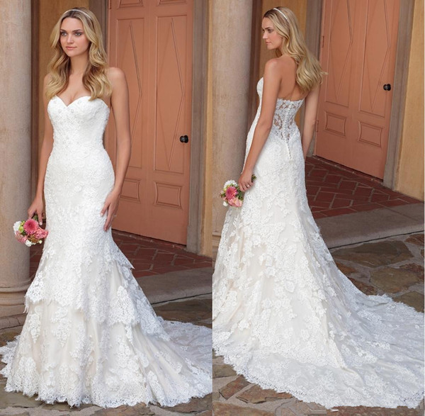 2018 New Design Sweetheart Tiered Skirt Wedding Dresses Mermaid Bridal Gowns Sweetheart Lace Appliqued Vintage Wedding Gowns Bride Dress