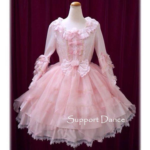 Long Sleeve Pink Lace Sweet Lolita Dress Custom Made Plus Size ...