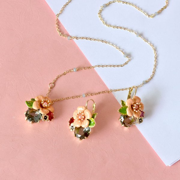 Floral Gem Silver Earrings Necklace Jewelry Set For Women Brand Design Fashion Wedding S925 Ear Studs Lady Earring Necklaces Wholesale