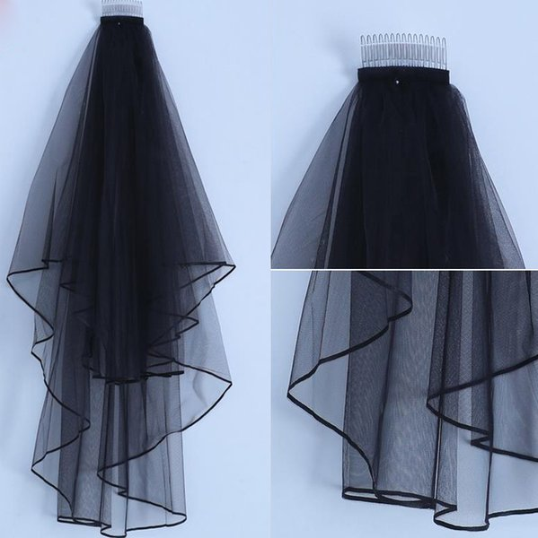 Gothic Black Bridal Veil Double Layers Fingertip Length Wedding Veil with Free Comb Dropshipping Wholesale