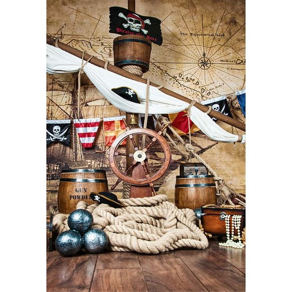 Pirate Ship Backgrounds for Photo Studio Wooden Deck Steering Wheel Flag Vintage Map Wall Baby Shower Newborn Kids Photography Backdrops