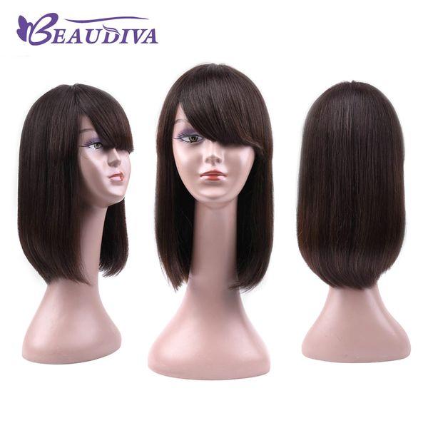 Beaudiva Düz İnsan Saç Patlama Ile Peruk Kısa Peruk İpeksi Düz Brezilyalı Bakire Saç Kadınlar Için 150 Yoğunluk Peruk