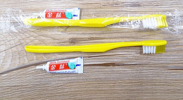 High quality Retail Hotel Travel Toothbrush with toothpaste Suit One time Dentifrice free shipping made in China