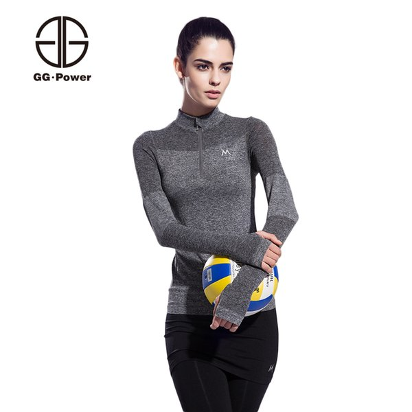 Wholesale-GG.POWER Half Zipper Running Jackets Women Gym Sport Jackets Yoga Shirts Breathable Lady Exercise Sweatshirts Tops Athletic Tees