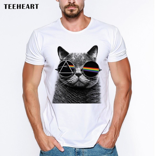 The Dark Side of The Moon Cat Sunglasses Cute Funny Joke Men T Shirt Tee New 2017 Hot Summer Casual T-Shirt Printing