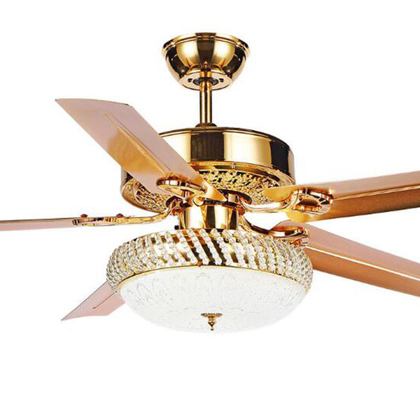 2018 Modern Ceiling Fan Lamp LED 3 Changing Light 5 Reversible Blades Crystal Chandeliers Light with Remote Control Mute Energy Saving Fan