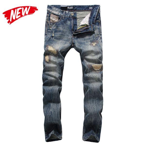 England Dark Jeans Men High Quality Slim Fit Designer Denim Patch Jeans Male Pants Brand Clothing Men`s Destroyed C704