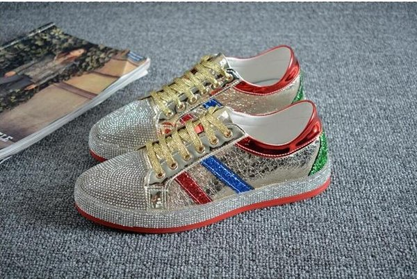 High Quality Fashion men rhinestone gold silver red mixed colors causal shoes loafers for mens driving bottom rubber anti-slip 38-44