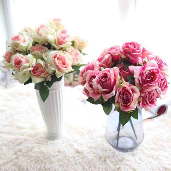 2 pz / lotto 7 teste / bouquet piccole rose gemma Bract simulazione fiori seta rosa fiori decorativi decorazioni per la casa per la cerimonia nuziale