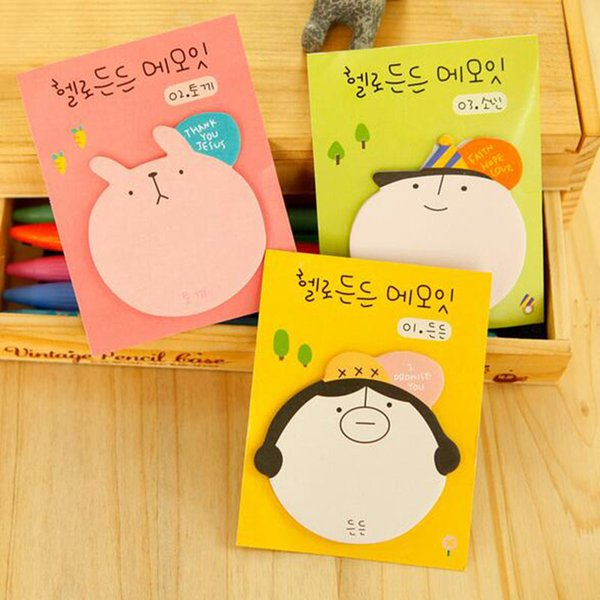 3pcs Lovely Happy Animals Snowman Cat Memo Pad N Times Sticky Notes Memo Notepad Bookmark Gift Stationery