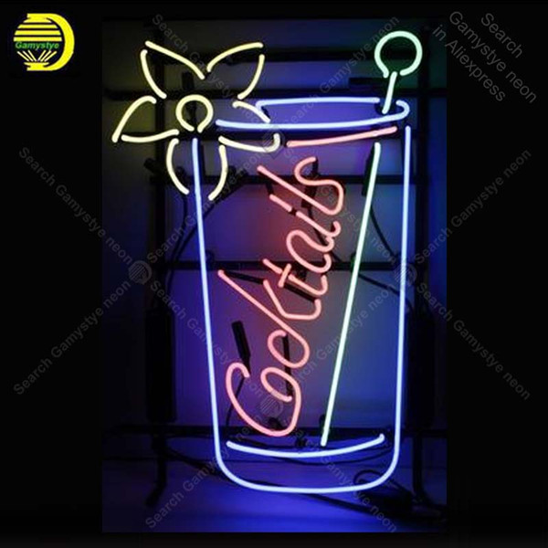 Neon Sign for cocktail Neon Bulb sign Flower handcraft Real Glass tube windows Dropshipping bar lights Home Decor lamps