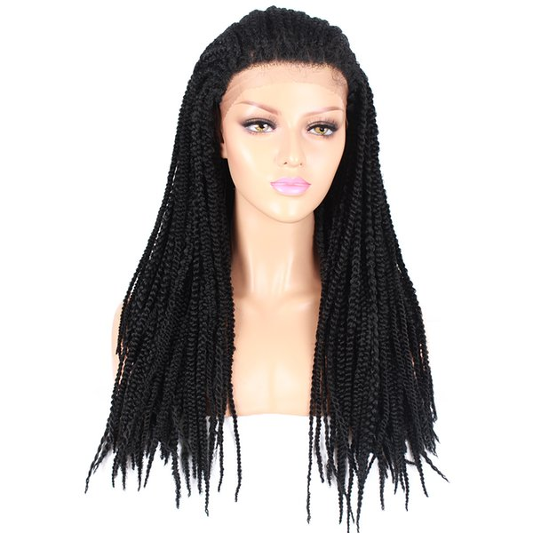 2018 new style two colored synthetic micro braiding hair synthetic lace front wigs