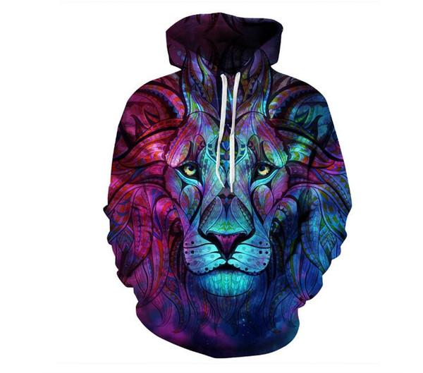 Sudaderas con capucha para hombre Sudaderas casuales 3D Galaxy lobo león Imprimir Sudadera con capucha Universo Cielo estrellado Gráfico Unisex Jersey Chándal Moda