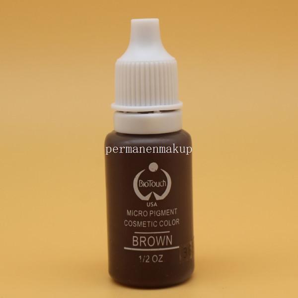 2 piezas BROWN maquillaje permanente Micro pigmentos Biotouch 1 / 2oz 15ml tinta del tatuaje para el tatuaje del labio del labio cosmético