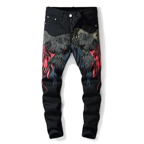 Hip Hop Digital Print Eagle Wing Jeans For Men Fashion Design 3D Printed Biker Jeans Denim Painted Pencil Pants Europe Style Rock Trousers