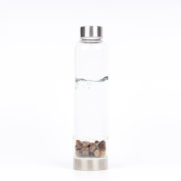 Natural Tiger eye stone Quartz Crystal Glass Water Bottle Gravel Irregular Stone Point Wand Healing Crushed stone cup