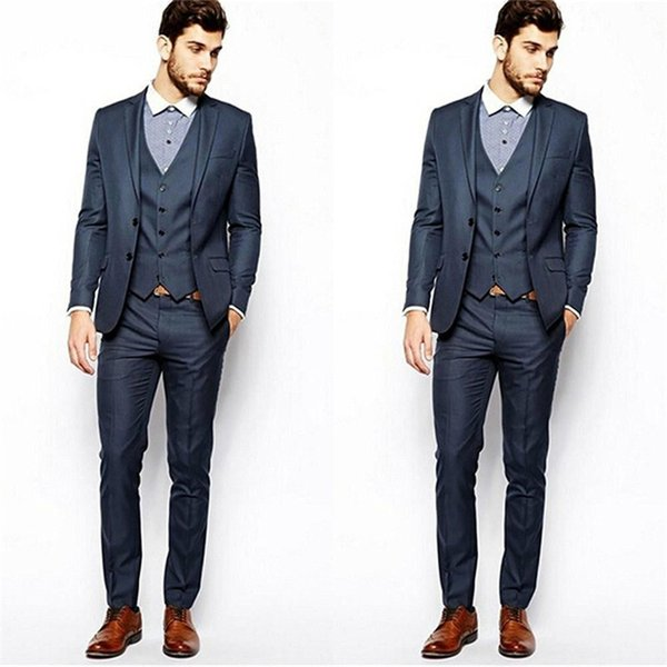 2019 Designer Grey Mens Suit Three Pieces Groom Suit Wedding Suits For Best Men Slim Fit Groom Tuxedos For Man(Jacket+Vest+Pants)