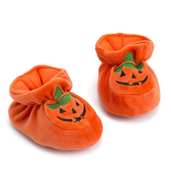 Lovely Baby Girls Cute Soft Anti-slip Pumpkin Prewalker Warm Casual Flats Shoes First Walkers Halloween