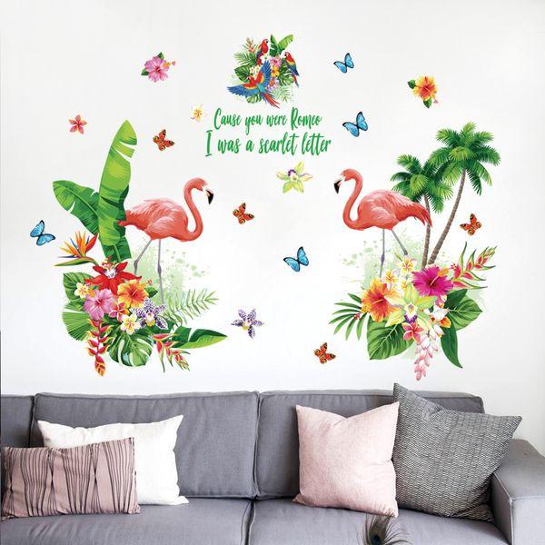 Romantic Love Red Flamingo Pegatinas de pared Tropical Green Leaf Flowers Tatuajes de mariposas Girl Bedroom Parlor Decor Wardrobe Sticker