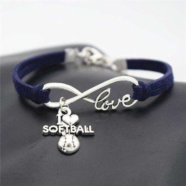New Arrival Mens Infinity I Love Softball Pendant Dark Navy Leather Suede Charm Bracelet & Bangles Women Wristband Fashion Jewelry Wholesale