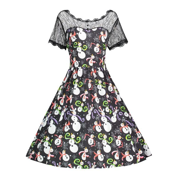 d39fa8cf84 Dropship Women sexy dress Short Sleeve Christmas Snowman Lace Vintage Black Dress  maxi plus size 5XL
