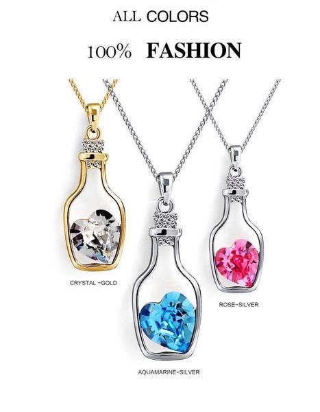 Fashion Love drift bottles austrian crystal jewelry sets pendants necklace and earrings z077