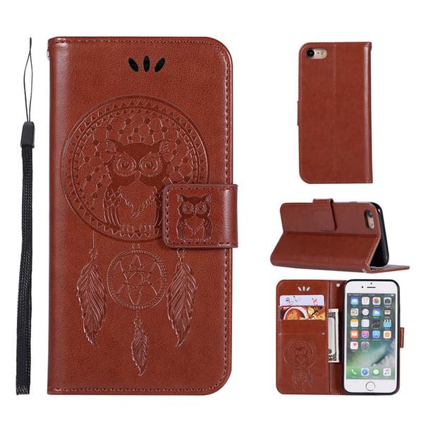 Etui portefeuille luxueux en relief Campanula Owl en cuir pour Samsung Galaxy S9 Plus et pour iPhone X 8 7 6 6S 5 5S Flip Cover Stand