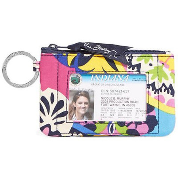 2018 New Hot VB Cotton Zip Case with Lanyard ID Card Holder Credit Card Bus Card Case Free Shipping