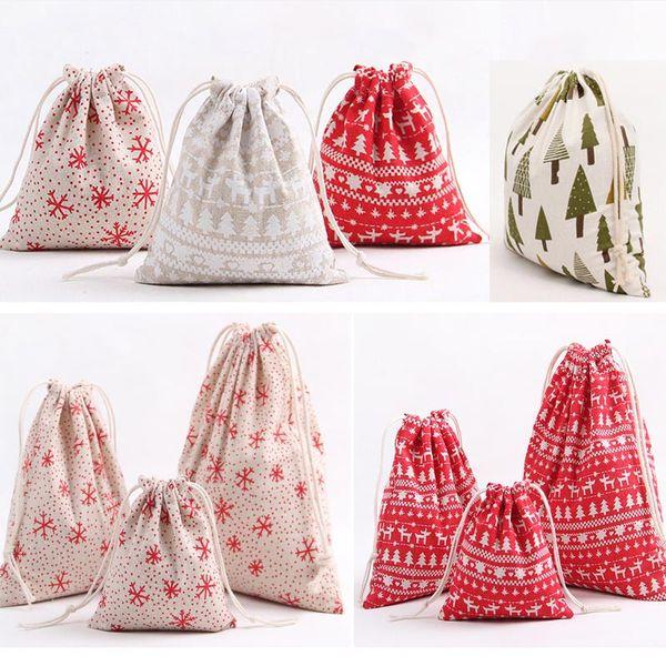 Christmas Gift Bag Reindeer Snowflake Storage Bag Cotton Drawstring Bundle Bags Xmas Candy Tea Package Gift Wrap XMAS Decorations HH7-1297