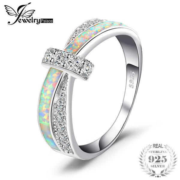JewelryPalace Fashion Created Opal Crossover Band Ring 925 Sterling Silver Gift For Girlfriend Birthday Present Hot Selling S18101001