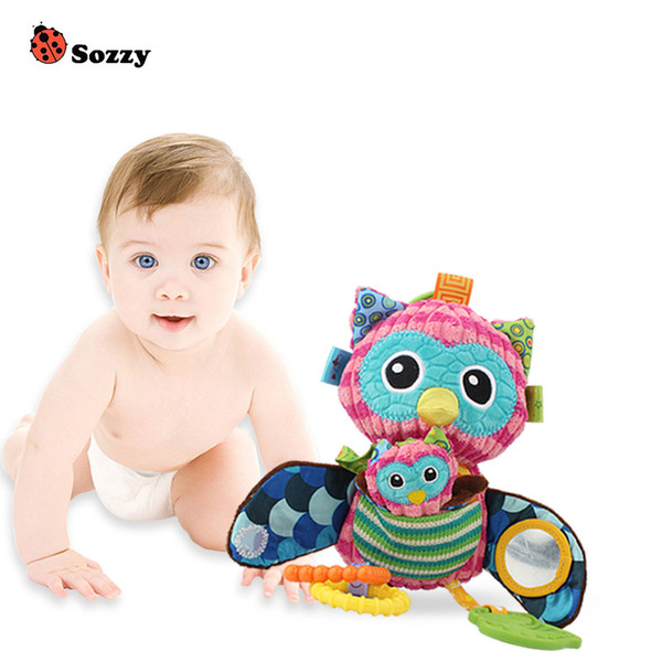 Sozzy Multifunctional Baby Toys Rattles owl Mobiles Soft Cotton Infant Pram Stroller Car Bed Rattles Hanging Animal Plush Toys