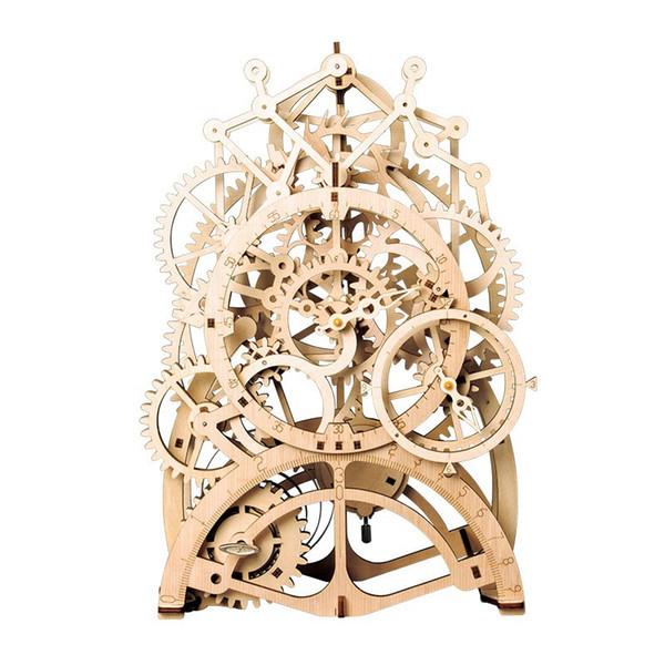 Vintage Home Decor DIY Wooden Pendulum Clock Gear Drive by Clockwork Spring Nice Gift for Children Friends LK501
