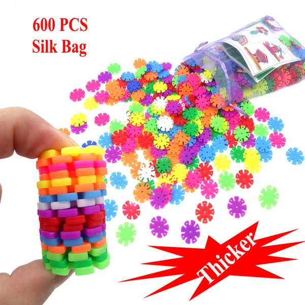 Blocks 600Pcs Thicker 3D Puzzle Jigsaw Plastic Snowflake Building Blocks Brick Educational Toys for Children with Instructions