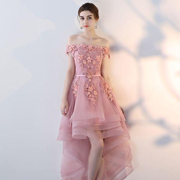 MW198 Sexy Bateau Short Front Long Back Lace Flower Evening Dress Bride Banquet Formal Party Gowns Women Dresses
