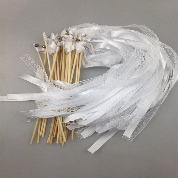 30Pcs White Ribbon and Lace Fairy Stick Twirling Streamers Festival Party Favor Confetti Ribbon Wedding Sticks/Wands With Bells