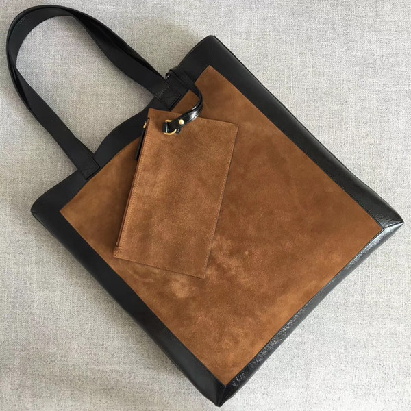 Hot 2018 newest designer patent with suede leather women handbag 7A original qualty shopping bag lady fashion shoulder bag G519335 tote bag