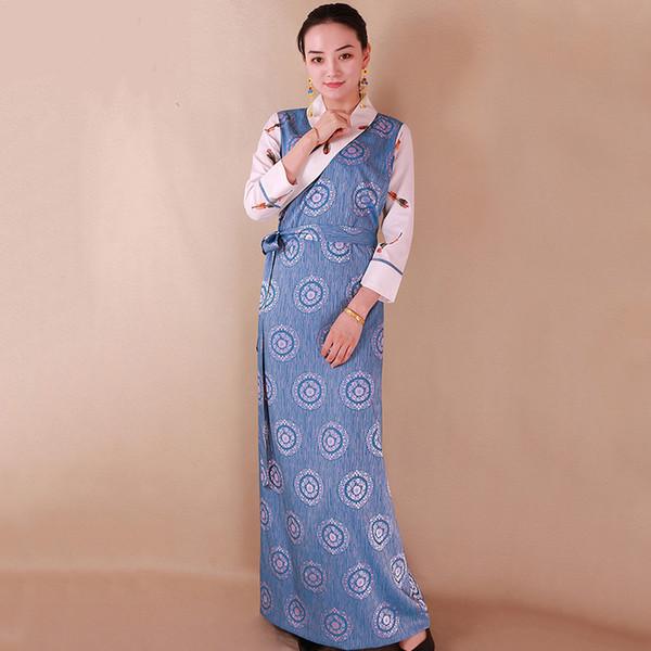 Neue Ankunft Frühling Herbst chinesische traditionelle Kostüm Tibet lange Robe elegant gewachsen Tang Anzug Vintage Kleid Frauen Festival Bühne tragen