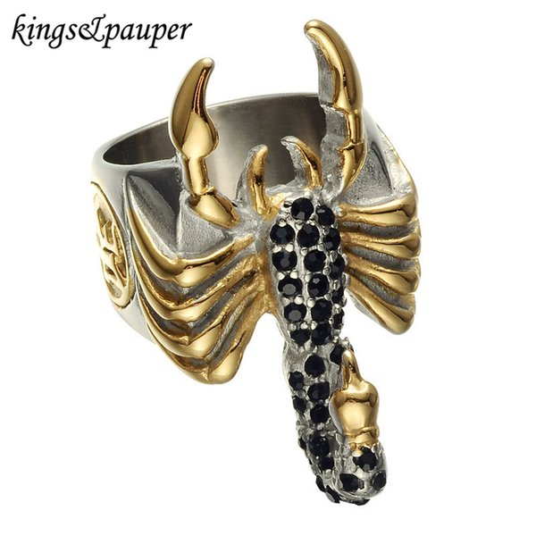 Titanium Stainless Steel Male Engrave Cool Signet Rings Hip Hop Punk Black Crystal Biker Scorpions for Men Jewelry Gifts
