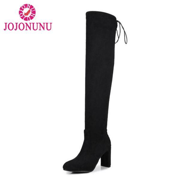 JOJONUNU Plus La Taille 32-48 Femmes Talons Hauts Bottes Stretch À Lacets Chaussures D'hiver Pour Femmes Nouvelle Mode Garder Au Chaud Cuisse Bottes Hautes