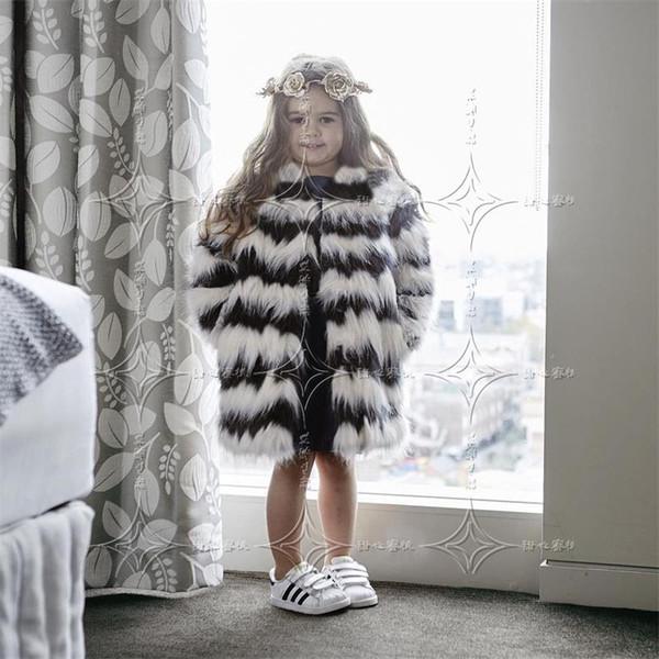 best selling Children Warm Winter Faux Fox Fur Fashion Coats Black White Striped Long Section Fur Jackets European Style Slim Girl Cloth T0589