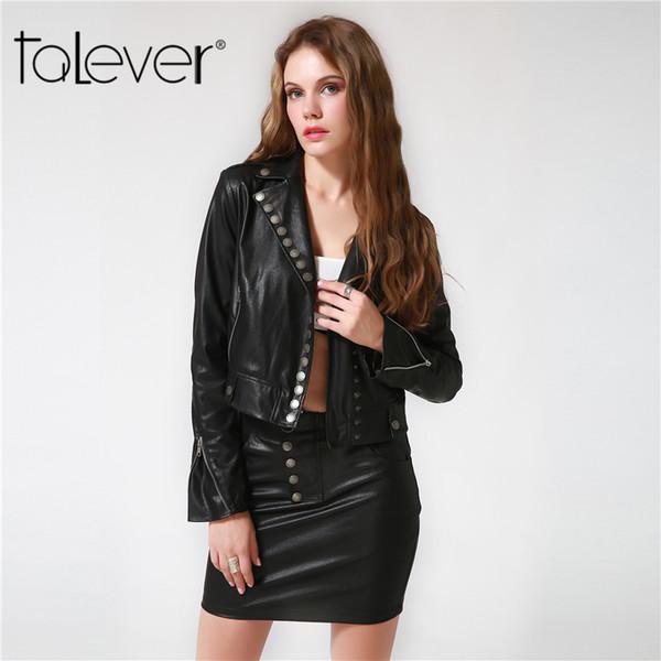 2017 Talever High Street Women Faux Leather Suit Sets Long Sleeve PU Jacket and Mini Sheath PU Skirt Women 2 Piece Sets