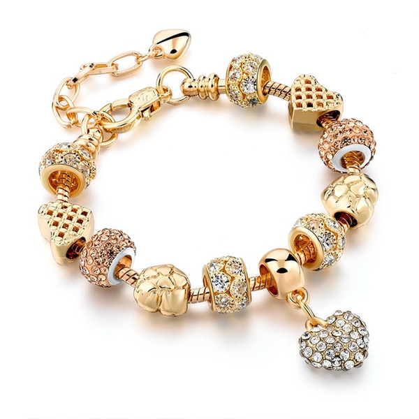 Luxury Crystal Heart Charm Bracelets & Bangles Gold Bracelets For Women Jewellery Feminina