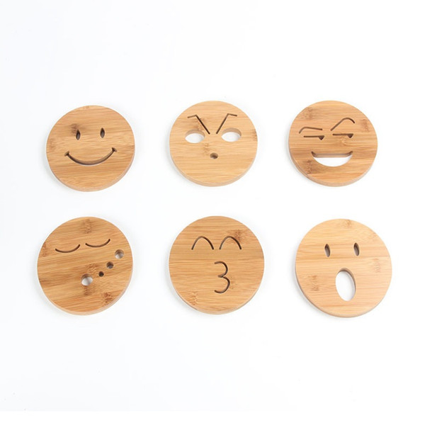 Creative Round Emoji Tea/Coffee Cup Bamboo Coasters Cartoon Insulation Pads Hand-polished Pan Pads Placemats QW7266