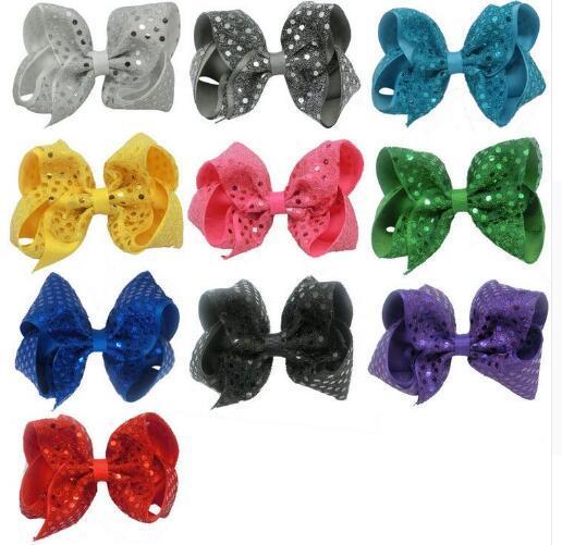 Sıcak satış 10 adet / grup Kızlar Için 5 inç Bling Glitter Pullu Saç Yaylar Timsah Klipler Kızlar Gençler Çocuklar Çocuklar Için ...