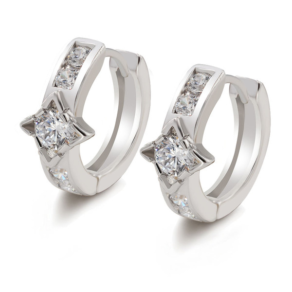 (386E) White Gold Plated Earrings Hoop For Women Daily Clear Cubic Zircon Top Quality Free Shipping