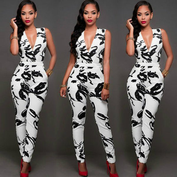 2017 Sexy Women Ladies Printed Deep V-Neck Clubwear Playsuit Bodycon Party Jumpsuit Bodysuit Long Trousers Office Women Clothing