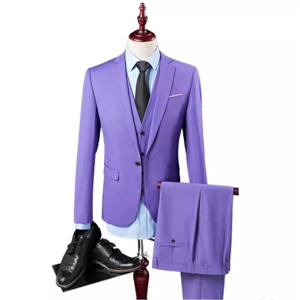 Costume homme costume trois pièces (manteau + pantalon + veste) robe de dîner de mariage couleur unie costume européen et américain pour homme